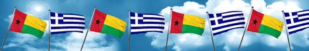 Guinea bissau flag with Greece flag, 3D rendering Stock Photo