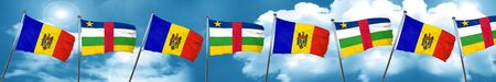Moldova flag with Central African Republic flag, 3D rendering Stock Photo