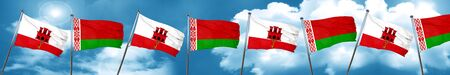 gibraltar flag with Belarus flag, 3D rendering