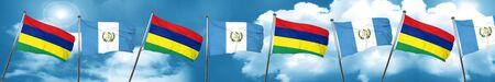 bandera de guatemala: Mauritius flag with Guatemala flag, 3D rendering Foto de archivo