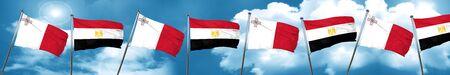 malta: Malta flag with egypt flag, 3D rendering