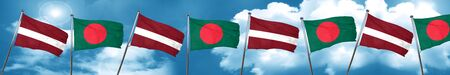 Latvia flag with Bangladesh flag, 3D rendering