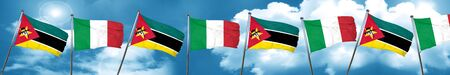 Mozambique flag with Italy flag, 3D rendering Stock Photo