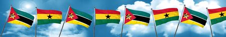 Mozambique flag with Ghana flag, 3D rendering Stock Photo