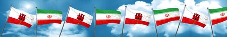 gibraltar flag with Iran flag, 3D rendering