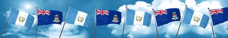 cayman: guatemala flag with Cayman islands flag, 3D rendering Stock Photo