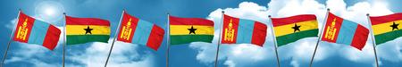 ghanese: Mongolia flag with Ghana flag, 3D rendering
