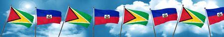 Guyana flag with Haiti flag, 3D rendering Stock Photo