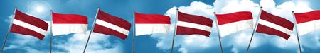 Latvia flag with Indonesia flag, 3D rendering