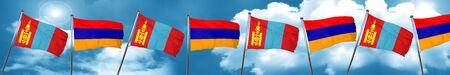 armenian: Mongolia flag with Armenia flag, 3D rendering Stock Photo