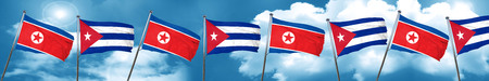 North Korea flag with cuba flag, 3D rendering