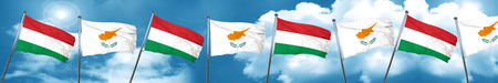 cyprus: Hungary flag with Cyprus flag, 3D rendering Stock Photo