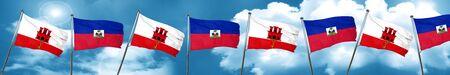 gibraltar flag with Haiti flag, 3D rendering