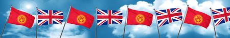 combines: Bandera de Kirguistán con la bandera de Gran Bretaña, 3D Foto de archivo