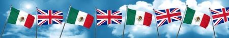 bandera de gran bretaña: mexico flag with Great Britain flag, 3D rendering