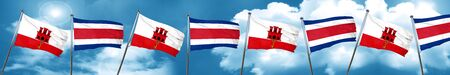 gibraltar flag with Costa Rica flag, 3D rendering