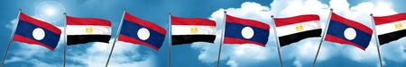 Laos flag with egypt flag, 3D rendering Stock Photo
