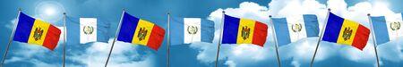 bandera de guatemala: Moldova flag with Guatemala flag, 3D rendering