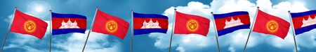 cambodian: Kyrgyzstan flag with Cambodia flag, 3D rendering