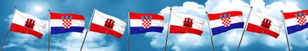 gibraltar flag with Croatia flag, 3D rendering Stock Photo