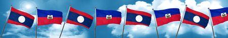 Laos flag with Haiti flag, 3D rendering