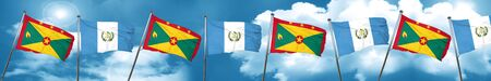 Grenada flag with Guatemala flag, 3D rendering Stock Photo