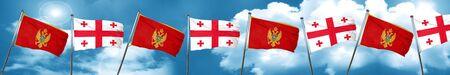 Montenegro flag with Georgia flag, 3D rendering