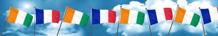Ivory coast flag with France flag, 3D rendering