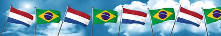 Netherlands flag with Brazil flag, 3D rendering