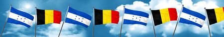 Honduras flag with Belgium flag, 3D rendering Stock Photo
