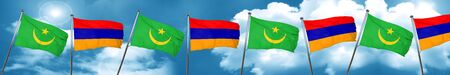 Mauritania flag with Armenia flag, 3D rendering Stock Photo