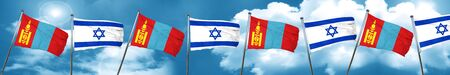 israel flag: Mongolia flag with Israel flag, 3D rendering