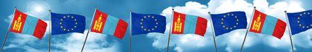 Bandera de Mongolia con la bandera de la Unión Europea, 3D
