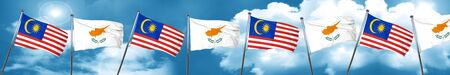 Malaysia flag with Cyprus flag, 3D rendering