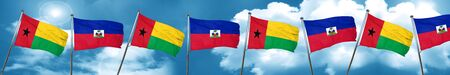 Guinea bissau flag with Haiti flag, 3D rendering