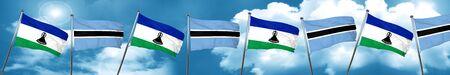 lesotho: Lesotho flag with Botswana flag, 3D rendering Stock Photo