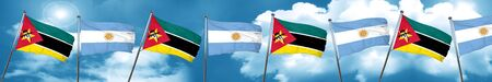 Mozambique flag with Argentine flag, 3D rendering Stock Photo