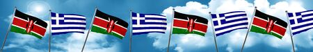 Kenya flag with Greece flag, 3D rendering Stock Photo