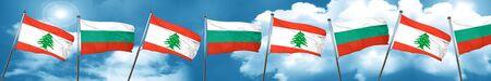 combines: Bandera de Líbano con la bandera de Bulgaria, representación 3D