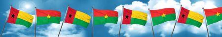 Guinea bissau flag with Burkina Faso flag, 3D rendering