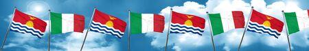 Kiribati flag with Italy flag, 3D rendering
