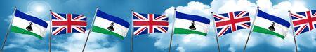 bandera de gran bretaña: Lesotho flag with Great Britain flag, 3D rendering