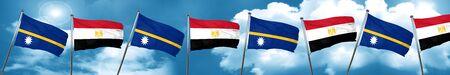 Nauru flag with egypt flag, 3D rendering