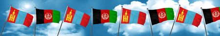 Mongolia flag with afghanistan flag, 3D rendering