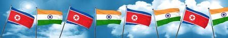 Bandera de Corea del Norte con la bandera de la India, representación 3D