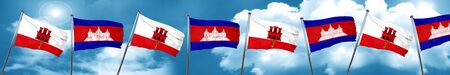 gibraltar flag with Cambodia flag, 3D rendering