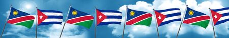 cuban culture: Namibia flag with cuba flag, 3D rendering