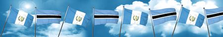 guatemala flag with Botswana flag, 3D rendering
