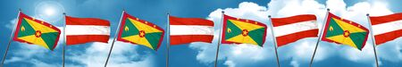 Grenada flag with Austria flag, 3D rendering
