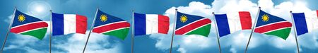 french culture: Namibia flag with France flag, 3D rendering
